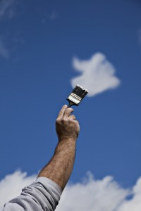 Artist painting clouds