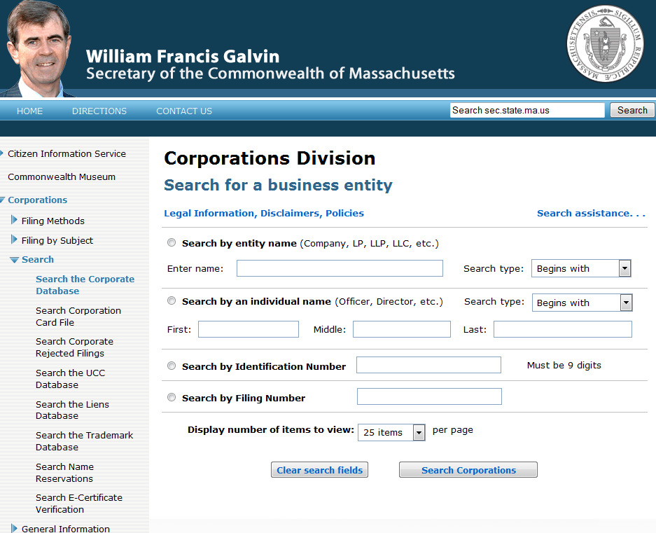Mass. Corporations Secy of State search
