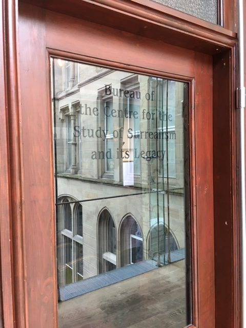 Picture of the door to the Bureau of the Centre for the Study of Surrealism and its Legacy, Manchester Museum