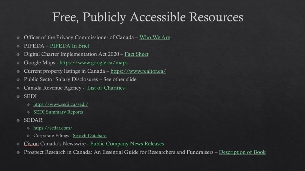 Title: Conducting Prospect Research in Canada (Free Resources) Presenter(s): Andrea Reed