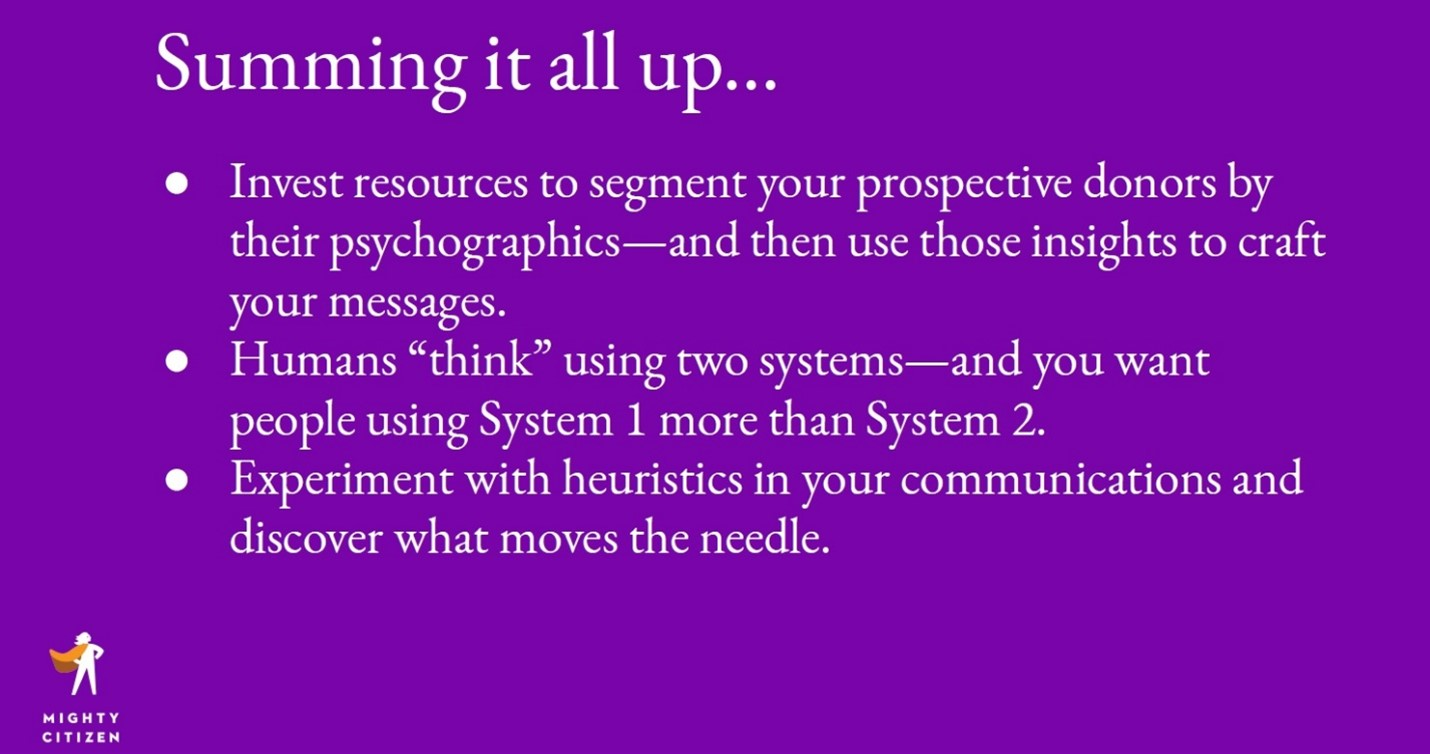 Title: Hack the Mind: Using Psychology to Boost Your Fundraising (slides) Presenter(s): Jarrett Way