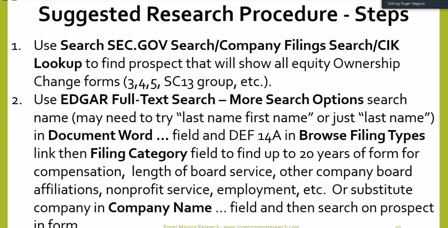 Title: Tips and Tricks to Search the SEC.gov Website for the Prospect Researcher   Presenter(s): Roger Magnus
